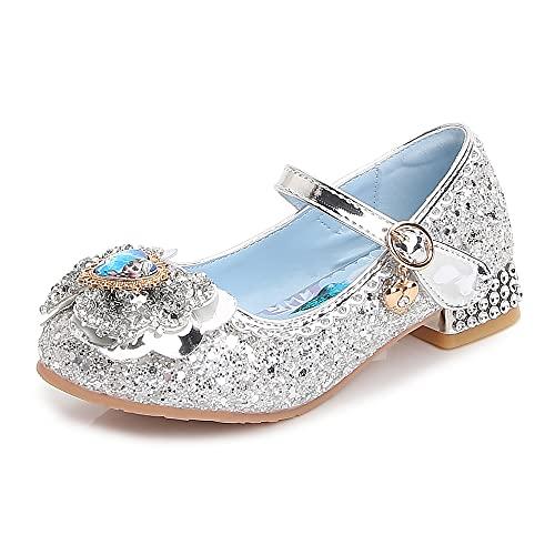 Eleasica Zapato de tacn para nias Princesa Cenicienta Azul Princesa Aurora Rosa Reina Elsa Plata Zapatilla Adornada Lazo con Foto Accesorio para Disfraz Carnaval Bodas Zapato de Vestir para nia