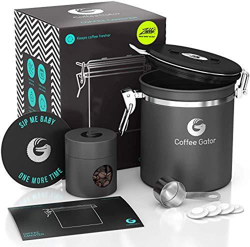 Coffee Gator - Frischere Bohnen und Boden für längere Zeit – Edelstahl-Behälter mit CO2-Ventil, Schaufel und Reiseglas – mittelgroß, grau
