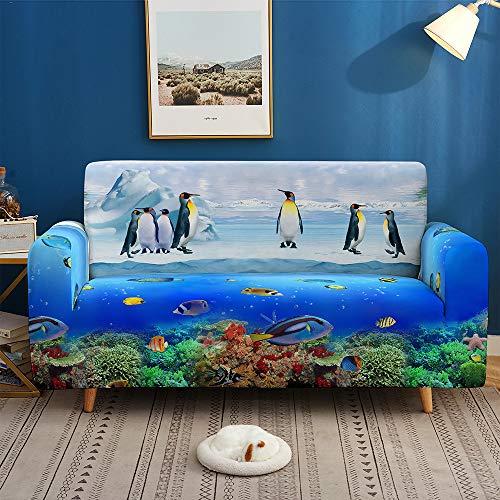 Funda Sofá de Universal Estiramiento, Morbuy 3D Oceano Cubierta de Sofá Cubre Sofá Funda Furniture Protector Antideslizante Elastic Soft Sofa Couch Cover (3 plazas,Pingüino)