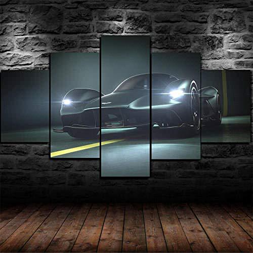 Cuadro Sobre Lienzo 5 Piezas Impresión En Lienzo Ancho: 150Cm, Altura: 100Cm Listo Para Colgar-Aston Martin Valkyrie Super Coche En Un Marco