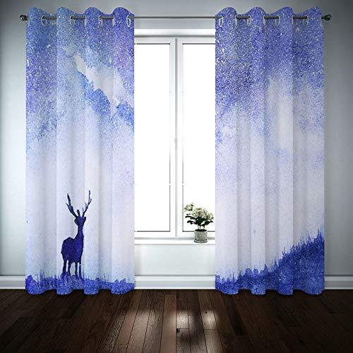 Kihomedy - Cortinas de salón (2 unidades, 84 x 108 cm), diseño de ciervo, color azul