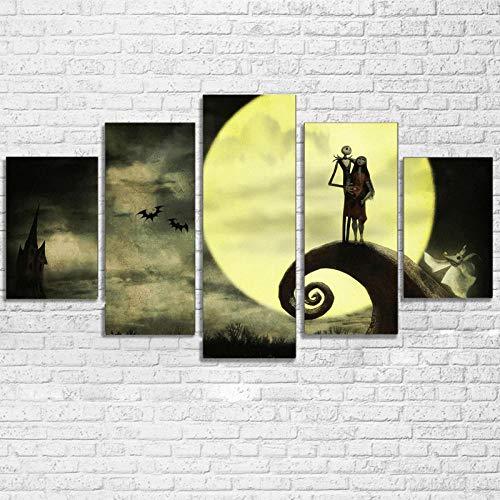 SHENQI-Quadro Moderno Soggiorno- Poster di Nightmare Before Christmas -100X55Cm 5 Pezzi Pannelli XXL Quadri Moderni Stampa su Tela Canvas Arredamento Camera da Letto