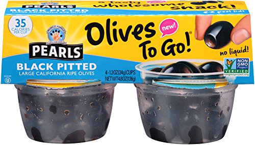 Pearls Olives To Go!, Large Ripe Pitted, Black Olives, 1.2 oz, 24-Cups