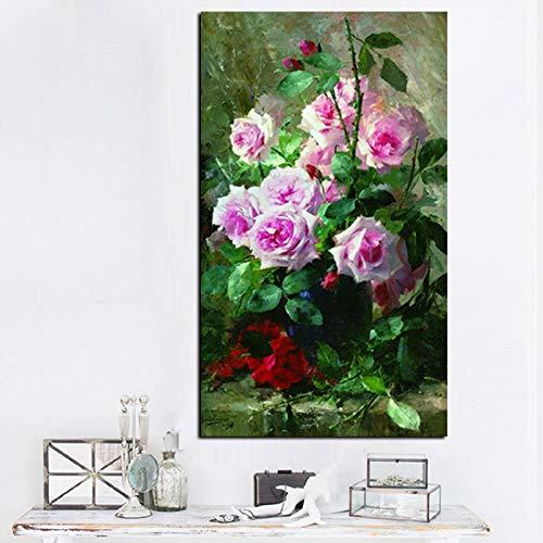 wZUN Impresión HD Acuarela Flor en florero Flor Pintura al óleo sobre Lienzo póster Cuadro de Pared Sala de Estar sofá decoración 60x100 Sin Marco