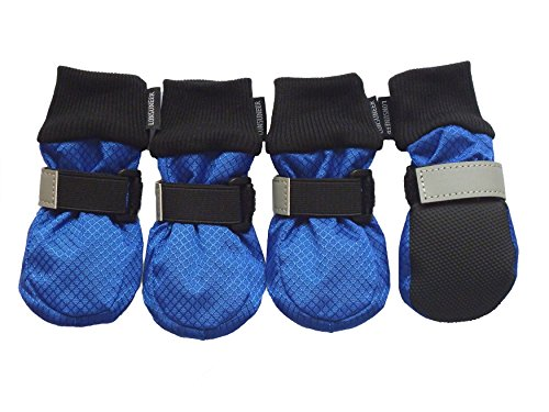LONSUNEER Paw Protector Dog Boots Soft Sole Nonslip and Reflective Set of 4 Color Blue Size Small