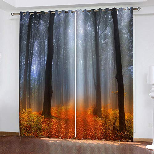 LOVEXOO Blackout Curtains for Bedroom Red fall W66 x H90 Inch Super Soft Thermal Insulated Tab Top Thermal Insulated Window Treatments Curtain for Living Room 2 Panels
