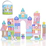 Fairytale Kingdom Color Wooden Building Blocks Castle with Unicorn and Fairy Wooden Blocks Gift for Girls and Boys 3 to 8 (80 pcs)