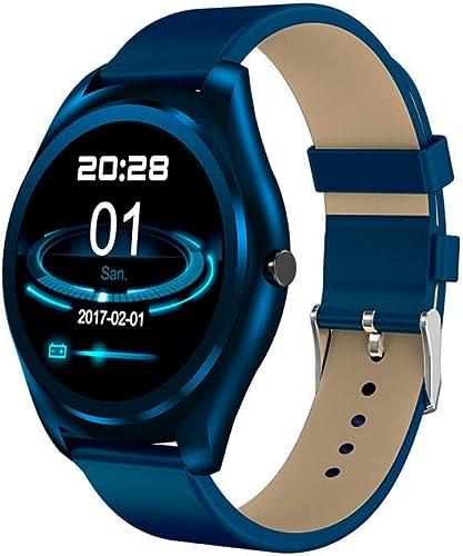 NFGGLM Montre Intelligente Fréquence Cardiaque étanche bleutooth Répondant HD écran Rond Musique Jouer Sommeil Bleu