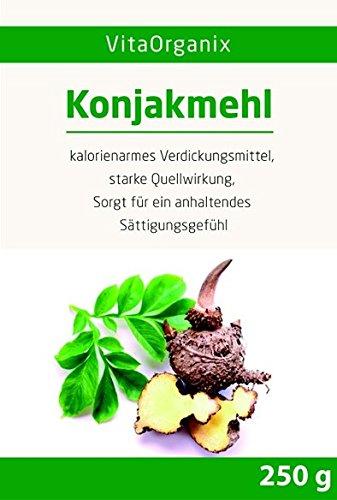 Konjakmehl Konjakwurzel getrocknet zum Abnehmen, 250g gemahlene Teufelszunge, KLUMPENFREI anrühren!, hohe Quellfähigkeit - Glutenfreier Appetitzügler - Vegan