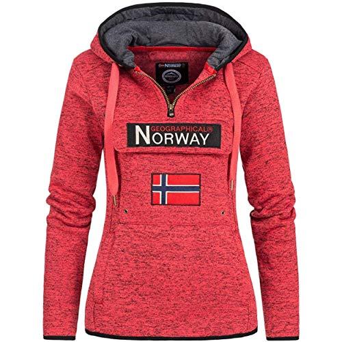 Geographical Norway UPCLASSICA Lady - Sudadera Capucha Bolsillos De Forro Polar Kangaroo - Sudadera De Manga Larga Y Cálida - Sudadera con Capucha Tops Sport (Coral L)