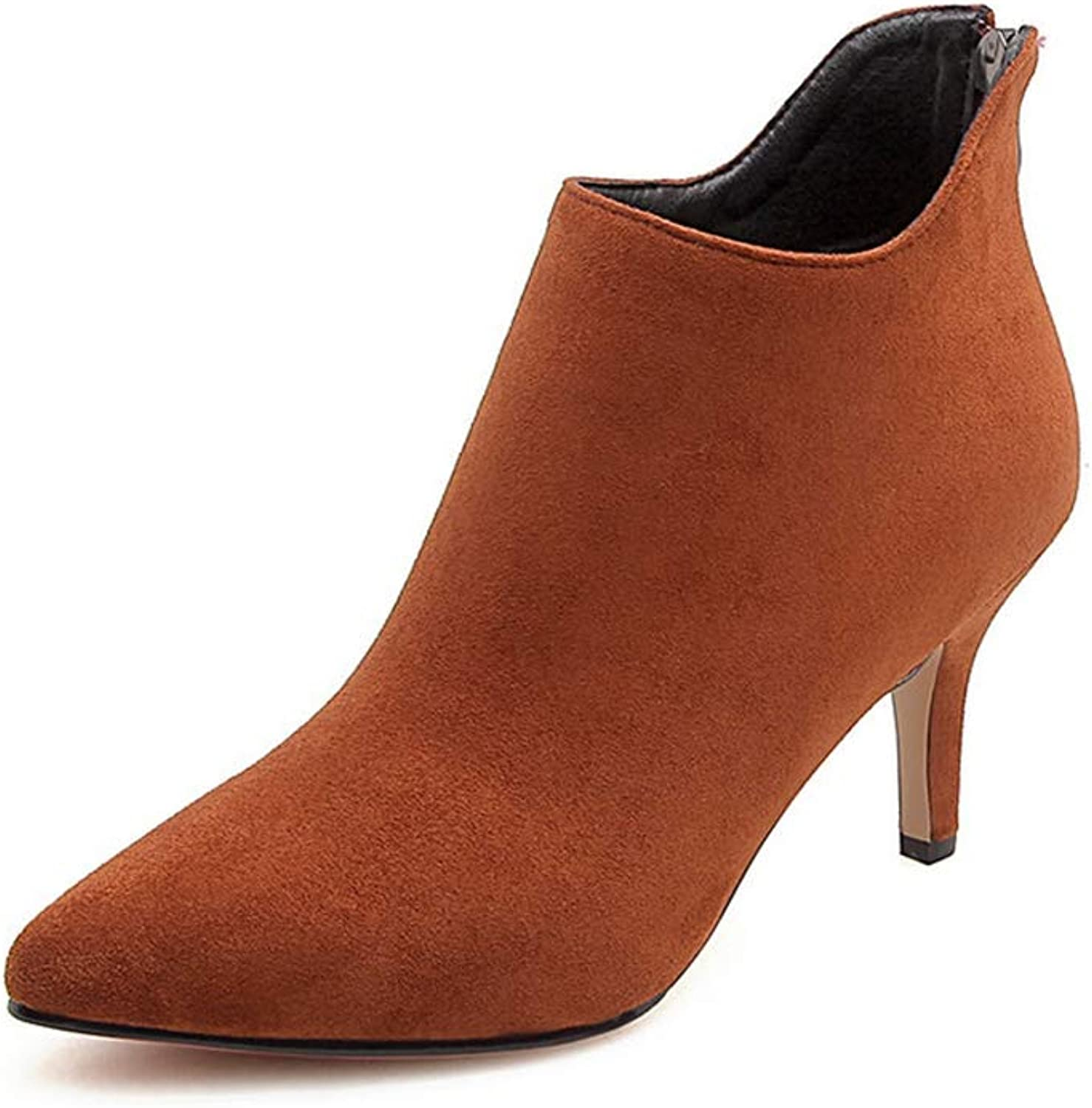 GIY Womens Pointed Toe Thin High Heels Ankle Boots Ladies Suede Leather Side Zipper Slip On Dress Pump Boots