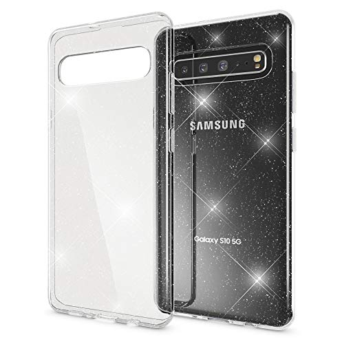 NALIA Glitzer Hülle kompatibel mit Samsung Galaxy S10 5G, Ultra Slim Handyhülle Silikon Glitter Hülle Cover Durchsichtig, Handy-Tasche Schutzhülle Transparent Etui Bumper Backcover