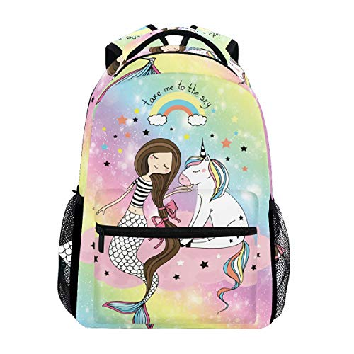 Wamika Galaxy Unicorn Mermaid Rainbow Backpack Bookbags Daypack School Supplies for Students Girls Boys,Cute Animal Mermaid Scale Starry Laptop Bookbag Shoulder Bag Travel Sports for Men Women
