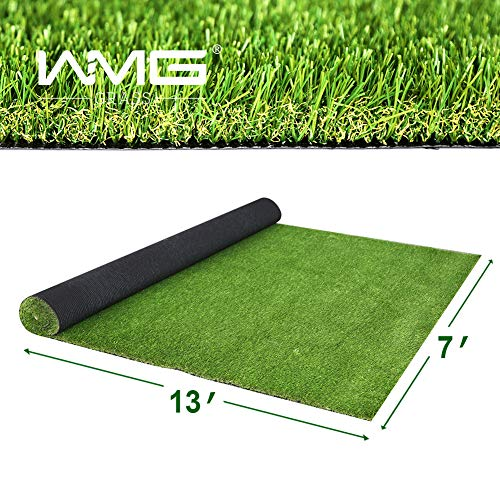 WMG Premium Artificial Grass, Outdoor Drainage Mat, 7' x 13' Artificial Turf for Dogs, Pet Turf Synthetic Grass Outdoor Rubber Mat, 1 Pack…