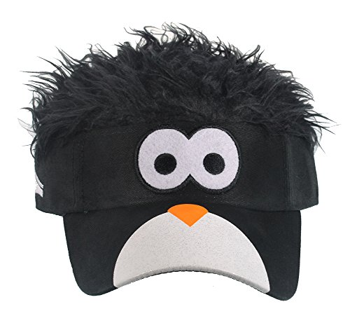 Flair Hair Mens Penguin Face with Black Hair Visor One Size Fits Most Black