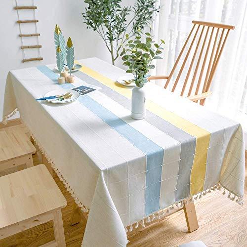 N/X Plaid dekorative Leinentischdecke mit Quaste wasserdicht verdicken rechteckige Hochzeit DiningTablecloths