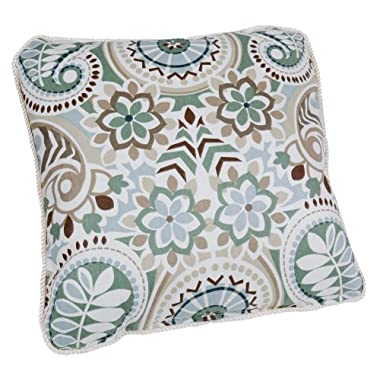 Ellis Curtain Paisley Prism Jacobean Floral Print Toss Pillow, 17 by 17-Inch, Latte