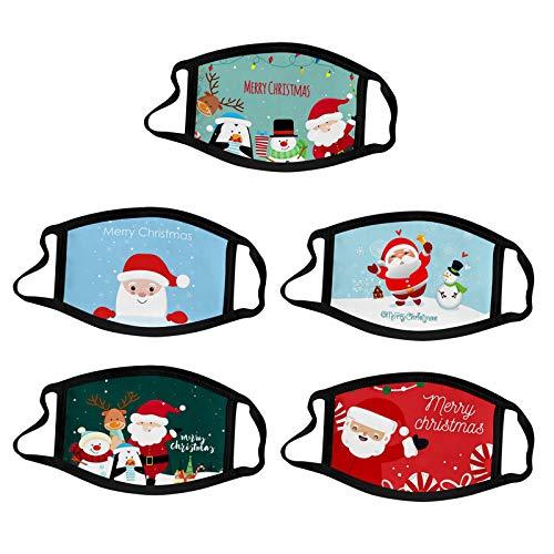 DAY8 5pc Adult Kids Outdoor Baumwolle Weihnachtsdruck Ice Silk MundMundschutz zum Schutz vor Staub und Dunst GesichtsMundschutz Waschbare Earloop Mundschutz