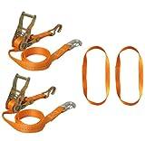Braun 750-6-FRONT - Blocco per ruota anteriore moto, set 6 pezzi con ganci a uncino e moschettone, inclusi passanti continui, colore: Arancione (cinghia)