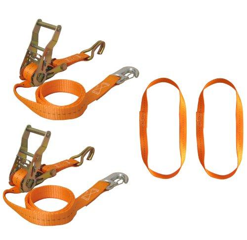 Bike Lashing Set Bruin motorfiets voorwielvergrendeling, sjorrietset 6-delig met punthaak en karabijnhaak, inclusief eindeloze lussen, kleur riem oranje. Artikelnr.: 750-6-FRONT