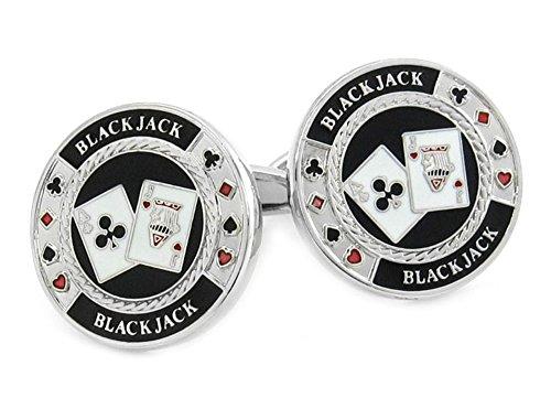 Unbekannt Manschettenknöpfe Black Jack schwarz silbern Weiss rot + schwarzer Exklusivbox