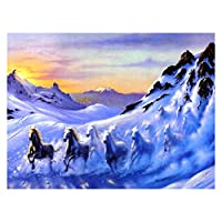 初心者アーティスト - 水彩アクリル塗料油絵クラフトデコレーションギフト - カラフルな犬 (色 : Running horse, Size : 40x50cm)