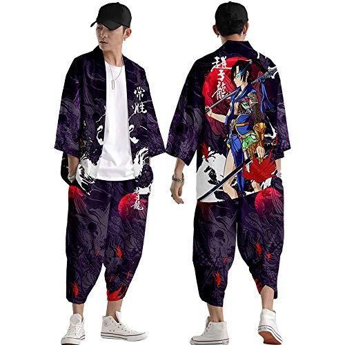Kimono Japonés para Hombre y Mujer Chaqueta de Manga 3/4 - Estilo Chino Zhao Zilong Road Robe Tejido de Plumas Sueltas,Purple-Medium