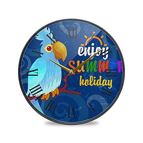 Loro Pájaro Azul De Verano Arte Reloj de Pared Silencioso Decorativo Relojs para Niños Niñas Cocina Hogar Oficina Escuela Decoración