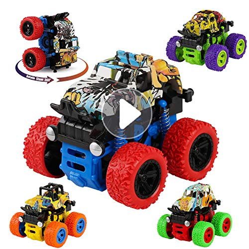 Kesletney Monster Trucks Toys for Boys, 4 Pack Friction Powered Purple Push and Go Cars Toys Vehicles Jam Playset, Kids Inertia Vehicle Cars for Boys Girls Toddlers Aged 3 4 5 6 Year Old