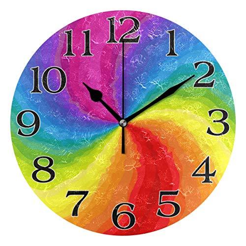 linomo Abstrakte Regenbogen-Wanduhr Dekor, geräuschlos, nicht tickend, runde Uhr, leise für Küche, Wohnzimmer, Schlafzimmer, Badezimmer, Büro