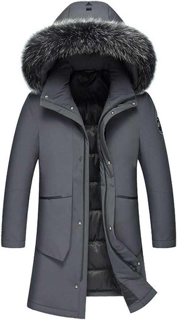 Michealboy Men's Down Alternative Casual Jacket Thicken Fur Hooded Mid Long Black Grey Parka Coat