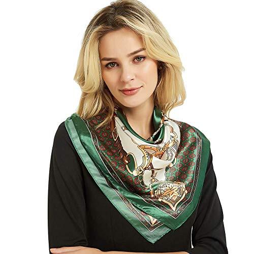 iEverest Donna Foulard Di Seta Sciarpe Di Seta Lusso Mulberry Seta Sciarpe Scialle Hijab Foulard Seta Quadrato Sciarpa Scialle Seta Spiaggia Scialle Anti UV (verde, 90*90 cm)