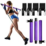 MALOOW Pilates Bar Kit with Resistance Bands (2 Strong & 2 Standard),Portable Compact 3-Section Exercise Stick and Resistance Tubes with Foot Strap for Legs and Butt,Full Body Workout