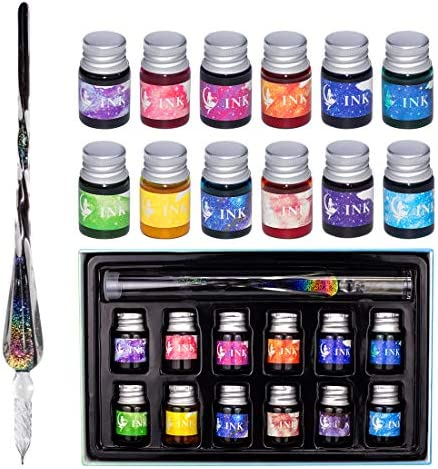 Glass Dip Pen Ink Set Calligraphy Dip Pens Rainbow Crystal Calligraphy Pen and Ink Set with product image