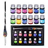 Glass Dip Pen Ink Set, Calligraphy Dip Pens, Rainbow Crystal Calligraphy Pen and Ink Set with 12 Colorful Inks, Caligraphy Kits for Art, Writing, Signatures, Decoration, Gift