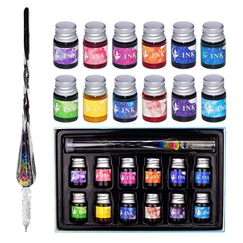 Glas Dip Pen Ink Set, Kalligraphie Dip Pens, Regenbogenkristall Kalligraphie Stift und Tinte Set mit 12 bunten Tinten, Kaligraphie-Sets für Kunst, Schreiben, Unterschriften, Dekoration, Geschenk