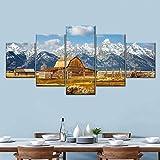 Laimi Lienzo decorativo para pared con diseño de nubes y montañas, 5 piezas, moderno, abstracto, para decoración de casa, oficina, con marco
