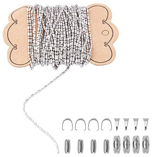 UNICRAFTALE DIY Kits de Fabricación de Collares de Acero Inoxidable Cadenas de Bolas de 10 m con 50 Conectores de Cadena de Bolas Y 50 Piezas de Fianzas A Presión