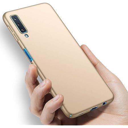 GALAXY A7 ケース 薄型 PC 耐衝撃 指紋防止 超耐磨 軽量 ギャラクシーA7 カバー galaxya7 2018ケースフォンケース レンズ保護 手触りよく (ゴールド)
