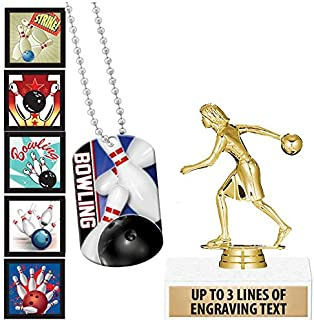 Crown Awards Bowling Goodie Bags, Bowling Favors for Bowling Themed Party Supplies Comes with Personalized Girls Bowling Party Bowling Trophy, Bowling Dog Tag and Bowling Stickers 1 Pack Prime