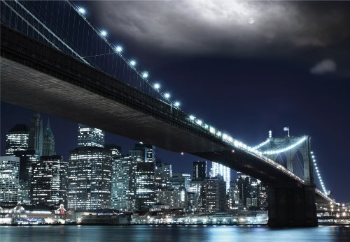 Regulär Preis 69,95 EUR! AKTION! BEGRENZTE STÜCKZAHLEN! 87004 Fototapete SELBSTKLEBEND Breite 272cm Höhe 198cm 8 Teile Brooklyn Bridge at Night wieder ablösbar