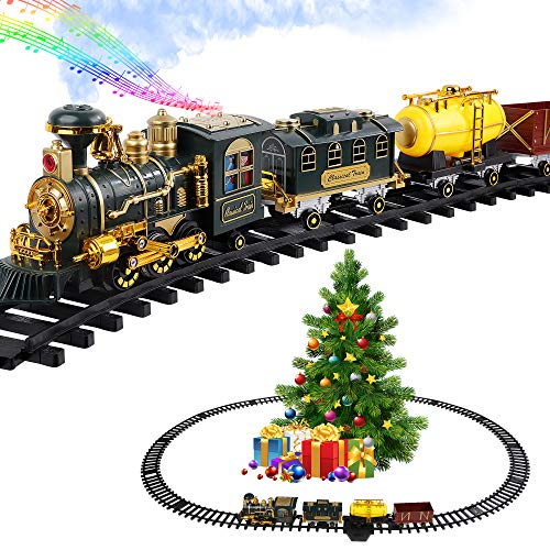 FiGoal Electric Christmas Train Set with Smoke and Sounds. Battery Operated Classic Train Set with Locomotive Engine, Cars and Tracks. Perfect Around Tree Christmas Gift for Kids Boys Girls