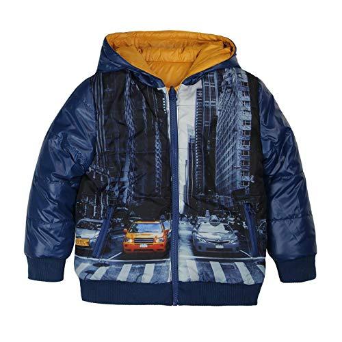 boboli Reversible Technical Fabric Parka For Boy Abrigo, Azul (Navy 2416), 98 (Tamaño del...