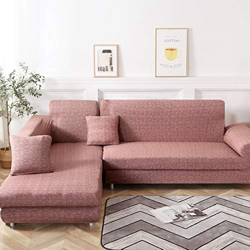 Jian Ya NA L-Form-Stretch Sofabezüge Polyester Spandex Stoff Slipcover 2ST Polyester-Gewebe Stretch Slipcovers + 2pcs Kissenbezüge für modernes Schnittsofa (Style 1)