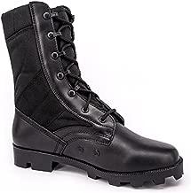 WIDEWAY Men's Military Jungle Boots Full Grain Leather Speedlace Desert Boots Combat Outdoor Work Water Resistant Boots, Black