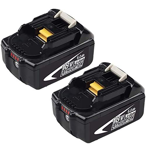 2 Packs 18 Volt 6.0Ah BL1860B Battery Replacement for Makita 18v Battery Lithium BL1815 BL1820 BL1830 BL1840 BL1850 LXT-400 with LED Indicator