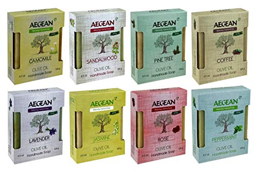 Aegean 100% Natural Bar Soap w/Organic Ingredients, Vegan Soap , Moisturizing, Handmade, Scented w/Premium Essential...