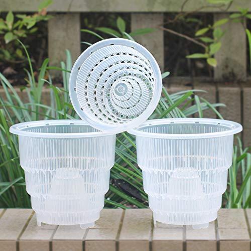 Meshpot - Vaso per orchidea in plastica trasparente con fori, 3 pezzi (2 pezzi 18 cm + 1 pezzo 14 cm)