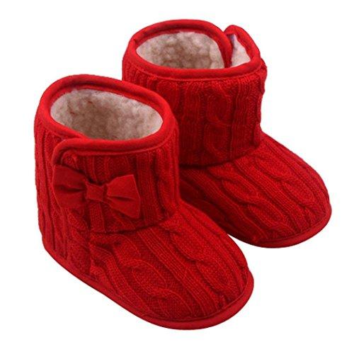 Minetom Niedlich Bowknot Weich Sohle Winter Warme Schuhe Boots für 3-12 Monate Baby Rot 11cm(3-6 Monate)