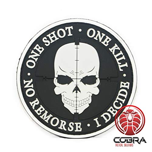Cobra Tactical Solutions One Shot * One Kill * No Remorse * I Decide PVC Patch Toppa Sniper con Chiusura in Gancio e Anello per Airsoft Paintball, per Abbigliamento tattico Zaino